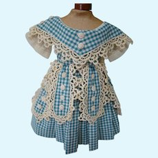 Pretty Vintage Cotton Blue and White Checked Summer Frock with Ornamental Lappets