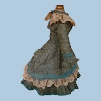Lovely Antique French Fashion Two-Piece Walking Suit, Shades of Blue with Dark Ecru Lace Trim