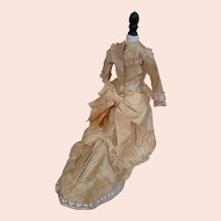 Aged Golden Ivory Silk Lined Two Piece Ensemble with X-Long Train for 15-16 Inch French Poupee, +Aged Straw Hat