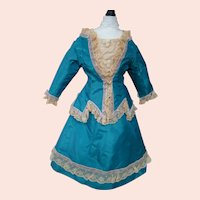 Dramatic Turquoise Taffeta and Ecru Lined French Fashion Two-Piece Ensemble with Train, Embroidered Tulle Dickie