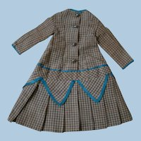 Nice Old French Bebe or German Child Dress, Fitted Bodice and Drop Waist Pleated Skirt