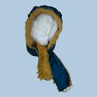 Antique Two Tone Blue Silk Taffeta / Long Golden Furry Woolen Hat for Small Bebe or German Doll