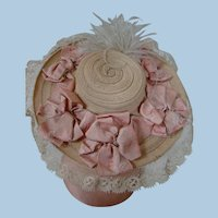 Aged Large Brim Hat with Textured Floral Print Ribbon Bows and Delicate Lace Trim