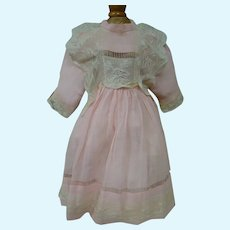 Antique Pink Wool Challis Dress with French Lace Bretelles for Bebe or German Child Doll