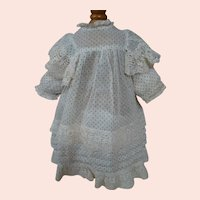 Crisp Blue Dotted Swiss Doll Dress with Bretelles, Cotton Lace and Tucks, High Waisted, Yoke Style