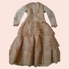 Very Old Artist Seamstress Made Silk Faille and French Netting Lace Lined Dress