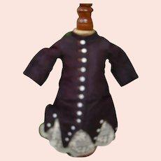 Deep Burgundy Ribbed Silk Faille Aged Bebe Dress, Ecru Scalloped Netting Lace Trim, Oversized Silk Satin Rear Bow