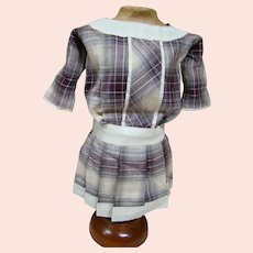 Older Cotton Plaid Drop Waist Style Dress for 16-17 In. Doll, Schoenhut or German Character