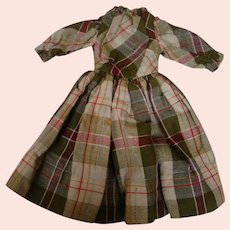 Antique Silk and Wool Plaid Dress for 17-18 In. German or French Bebe