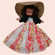 NASB Doll with Jointed Legs, Long Flocked Dress, Black Jacket and Wide Brim Straw Hat, Original and Near Mint