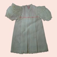 French Fine Cotton Batiste Factory Doll Chemise with Pleated Bretelles, Lace and Pink Silk Ribbon