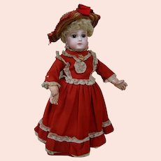 16 In. Premier Jumeau Early Unmarked Bebe Size 5; 8 Loose Ball Joints ; Curly Skin Wig; Blush Above Eyes