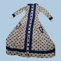 Antique Lightweight Cream Background with Colorful Design Wool Lady's Doll Dress with Purple Silk Accents, Front Pockets