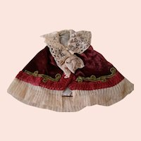Beautiful Victorian Style Cape for Antique Doll Approximately 15-16 In.