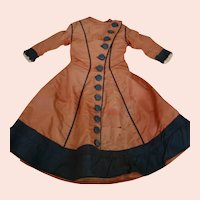 Antique Silk Dress for French Fashion, China Head, Parian or Other Lady Doll, Rust and Black