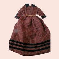 Antique Two-Piece Ensemble for a Larger Doll, Lightweight Wool Dress Fabric, Black Cotton Velvet Ribbon