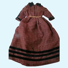 Antique Two-Piece Ensemble for a Larger Doll, Lightweight Wool Dress Fabric, Black Cotton Velvet Ribbon