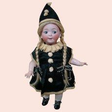 16 In. German Bisque Head Googly-Eyed Toddler Mold #165 by Hertel Schwab Dressed in Antique Silk Polichinelle Costume