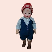 German Made 16-1/2 In. Cloth Kathe Kruse, Doll I, Wide Hips, Signed on Foot, Circa: 1910-1929