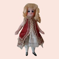 Lovely 4 Inch All Bisque Mignonette with Closed Mouth, Blue Glass Eyes, Swivel Neck, Blond Mohair Wig