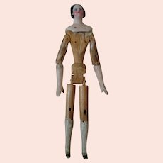 1840's 7 In. China Shoulder Head Doll, Articulated Peg Wooden Body, Early Hairstyle