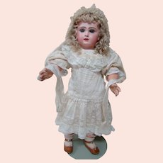 Stunning 22 In. Sz 10 Closed Mouth Tete Jumeau, Blue Paperweight Eyes, Blond Mohair Wig, Antique Clothes and Shoes