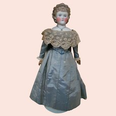 Lovely 21 In. Parian-Type or Untinted Bisque Lady with Beautiful Blond Hairstyle, Rare Removable Headband
