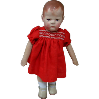 Kathe Kruse German Cloth Small Doll No. 1, 36 cm/14 in., Separate Thumbs, Play Wear and Rubs But Adorable
