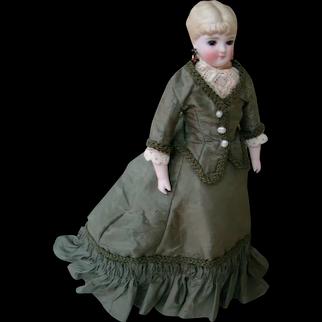 Petite 11 In. Parian Lady Shoulder Head Doll, Glass Eyes, Blond Sculpted Fancy Hairdo