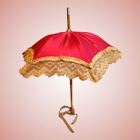 12-1/2 Inch Antique Parasol, Fuchsia Silk Satin, Cream Lace