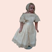 Beautiful English Poured Wax Young Lady Doll, Blue Inset Glass Eyes, Set-in Hair and Brows, Original Multi Layers of Clothing