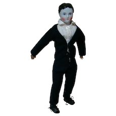 15 In. Young Boy China Shoulder Head on Unique Antique Cloth Jointed Body, Leather Arms