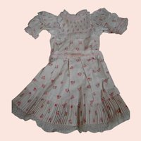 Factory Jumeau Dress with Tiny Bunches of Pink Flowers, Pink Silk Ribbons and Accordion Pleats