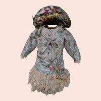 """Antique French Lined Bebe Silk Dress, Matching Hat, Aged but """"Not to Perfection"""""""