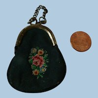 Tiny Old Petit-Point Design Fabric and Metal Edge Purse with Short Chain for Poupee or Bebe