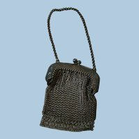 Old Doll Size Metal Chain Link Mesh Purse for a Poupee or Bebe or German Doll to Hold