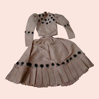 Antique Young Lady French Fashion Ensemble in Mauve Silk, Black Velvet Trim