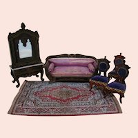 5 Pieces of Biedermeier Style Doll House Furniture and 1 Fringed Silk Room Rug from Germany
