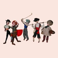 Collection of Five (5) Cloth Klumpe Dolls from Spain--Senorita Matador, Golfer, Artist, Hunter and Fisherman