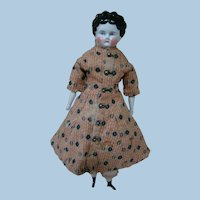 Original Lovely Antique China Head on Cloth Body, China Arms and Legs with Black Boots