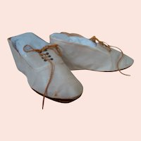 XL Size 18 Original Antique Doll Shoes, Lace-up with Grommets & Ties, Off-white Leatherette