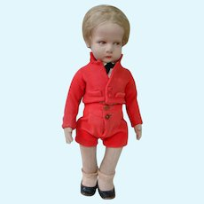 Original Marked 17 Inch Lenci Boy in Red Felt Short Suit, Series 300, Italy 1930's