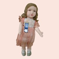14 In. All Original, Tagged Child Cloth Doll by Chad Valley, England, 1917+