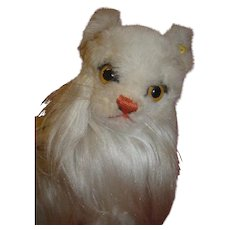Large German Steiff White Cat, Silver Button and Partial Ear Tag
