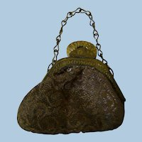 Old Brocade Fabric Small Purse for a French Fashion or Other Doll, Metal Frame with Working Latch