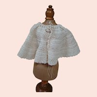 Lovely Old Cotton Crocheted Shawl or Cape for your Doll
