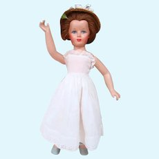20 Inch Rare Composition Monica Doll from Hollywood with Inset Human Hair and Widow's Peak, 1941