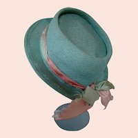 Cute Store Model Hat for your Large German or French Dolls, Silk Ribbon Band with Bow