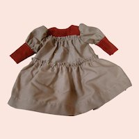 Two Tone Drop Waist Dress for a Chubby Toddler or Child Doll, Suede and Cotton Fabric