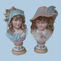 Spectacular Early Pair of 10-3/4 In. Victorian Era Bust Porcelain Figures of Young Lady and Gentleman